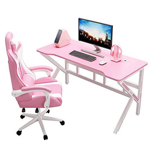 WJDOZ Escritorio de Juegos, Mesa de computadora de Oficina de Office Ergonómica en Forma de 47 Pulgadas K, Mesa de Car,Rosado