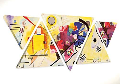 Giallobus - Cuadro Triangular Multipanel Kandinsky - Marco Abstracto Amarillo Rojo Azul - Lienzos Modernos - 180 x 70 CM