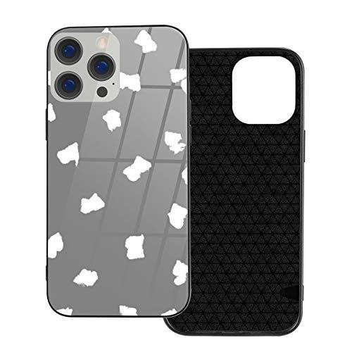 Compatible con iPhone 12 Pro Max, carcasa resistente de cuerpo completo, carcasa de vidrio TPU suave para iPhone 12 Pro Max 6.7 pulgadas, lunares pintados mínimos lunares básicos gris