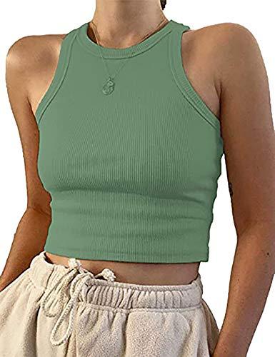 Meladyan Women's Round Neck Basic Racerback Camisole Rib-Knit Solid Sleeveless Crop Tank Tops Pea Green