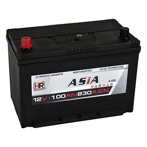 HR HiPower ASIA Autobatterie 12V 100Ah Japan Pluspol Links Starterbatterie ersetzt 70Ah 80Ah 90Ah 95Ah