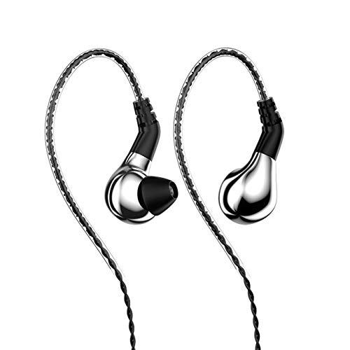 XiXi Diafragma de Carbono de transductores dinámicos En el Auricular del oído Ejecución de botón de los Auriculares Desmontable (Color : Silver no Mic)