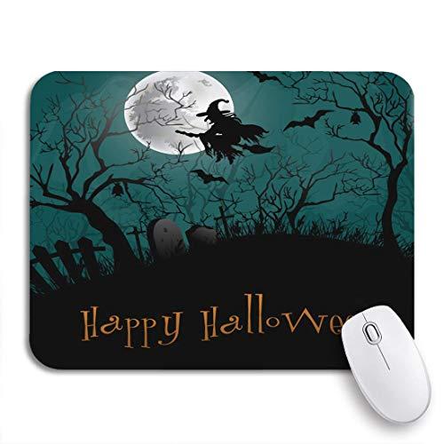 Gaming Mouse Pad Haunted Halloween Party Schwarzwald Silhouette Cartoon Schloss Friedhof Rutschfeste Gummi Backing Computer Mousepad für Notebooks Maus Matten