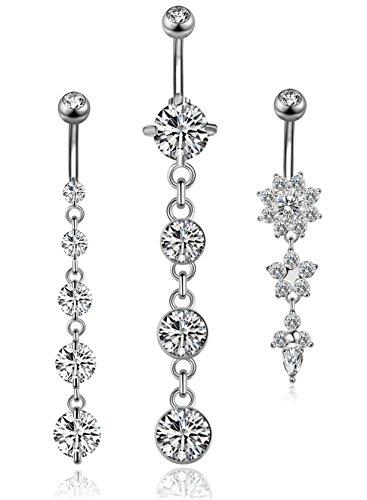YOVORO 3PCS 14G 316L Stainless Steel Belly Button Rings for Women Navel Rings Barbell Dangle Flower CZ Body Piercing S
