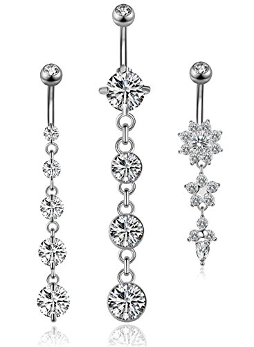 YOVORO 3PCS 14G 316L Stainless Steel Belly Button Rings for Women Navel Rings Barbell Dangle Flower CZ Body Piercing S