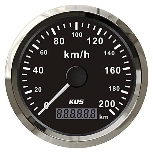 HUILING September Department Store Kus 8 5mm GPS Medidor de Calibre odómetro de velocímetro 20 0km h Ajuste for Camiones de Motocicleta de automóviles 1 2V 24V con retroiluminación (Color : Black)