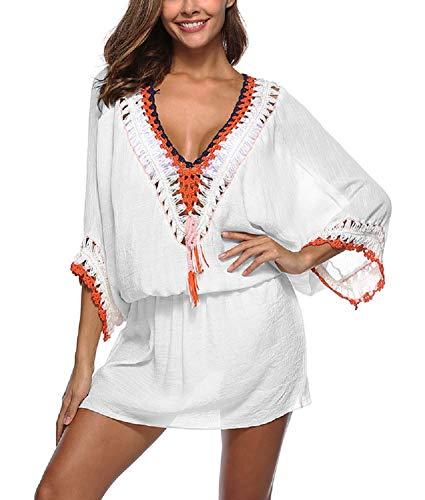 Moxeay Damen Tunika mit Fledermausärmeln und V-Ausschnitt - weiß - Einheitsgröße
