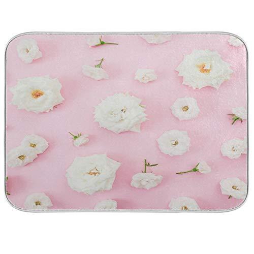 Alfombrilla de secado de platos con diseño de flores, color rosa y blanco, 45,7 x 60,9 cm, absorbente y reversible