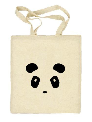 Shirtstreet24, PANDA FACE, Panda Gesicht Stoffbeutel Jute Tasche (ONE SIZE), Größe: onesize,natur