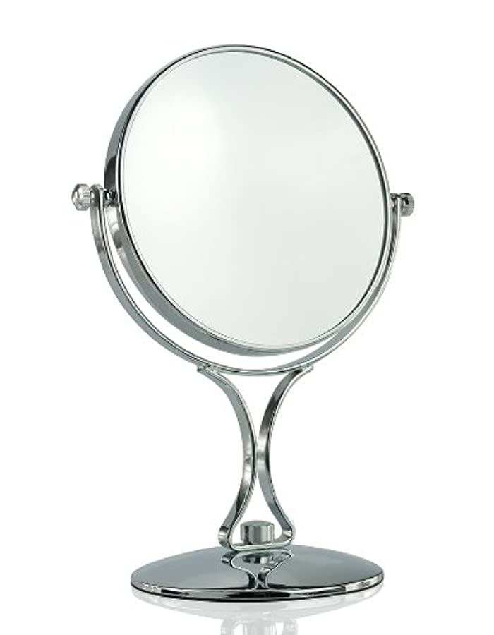 【ノーブランド品】拡大鏡5倍と等倍の両面化粧鏡 スタンドミラー