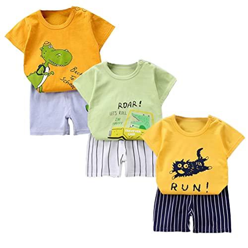 XM-Amigo Juego de 3 pantalones cortos de manga corta para bebé, de media manga, pack de 6 (con/sin hebilla de hombro) naranja, amarillo y verde. 2-3 Años