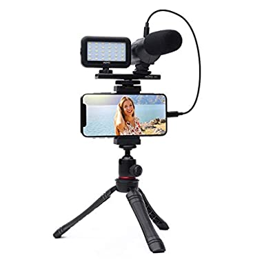 Movo iVlogger- iPhone/Android Compatible Vlogging Kit Phone Video Kit Accessories: Phone Tripod, Phone Mount, LED Light…