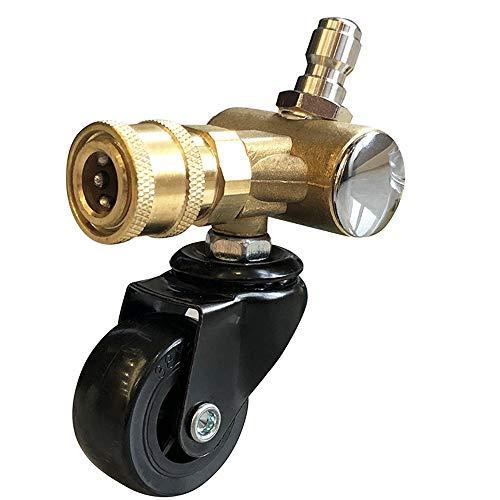 XIE Acoplador pivotante de latón Adaptador para arandelas de alta presión Consejos limpiador de chasis con rueda giratoria, 1/4 pulgada de desconexión rápida, 4000 PSI