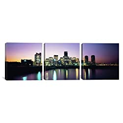 iCanvasART 3-Piece Buildings Lit Up at Dusk Boston