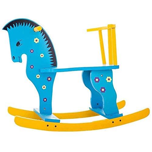 XWX Rocking Horses Blaue Massivholzfaserpflaster Holz Schaukelpferd Für 1-4 Jahre Kinder Geschenk Jungen Mädchen Rocking Tierübung Deinem Griff Ihres Babys