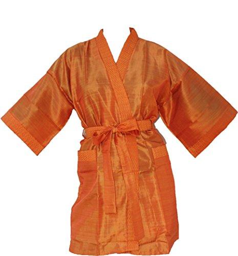 Badjas oranje maat L/XL Kimono satijn/polyester