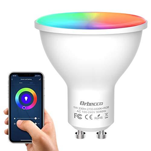 Orbecco Smart WLAN LED Lampe, GU10 Wifi Glühbirne 5W 2700K-6500K Dimmbar Birne, 400lm Mehrfarbig RGB+Weiß/Warm Licht APP Fernbedienung Kompatibel mit Alexa Echo Google Home, ohne Hub Benötig -1 Stück