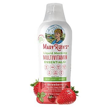 Morning Liquid Multivitamin + Zinc + Elderberry + Organic Whole Food Blend by MaryRuth s  Strawberry  Vitamin A B C D3 E Trace Minerals & Amino Acids 100% Vegan - Men Women Kids 0 Sugar 32oz