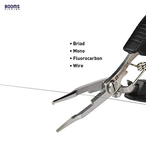 BoomsFishingH1フィッシングプライヤー釣りペンチ尻手ロープ付きブラック