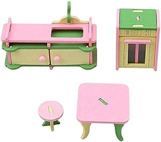 ألعاب الأثاث - سرير مزدوج لأثاث بيت الدُمى مع وسائد وبطانية، دمية خشبية أثاث الحمام وبيت الدمى للأطفال (897364)
