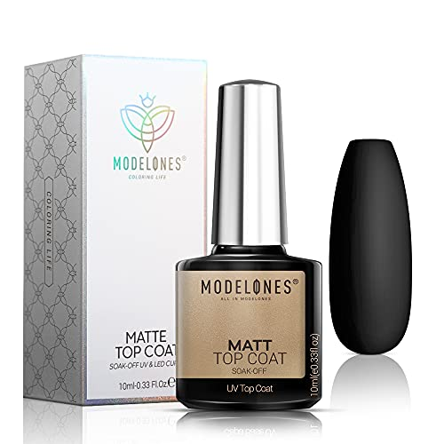 Modelones Matte Gel Top Coat, LED Soak Off Gel Nail Polish Kit Matte Finish and Long Lasting No Wipe Matte Top Coat