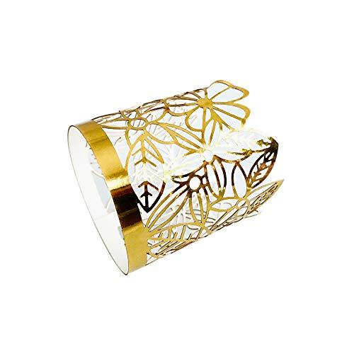 Fautly LED-Teelichthalter, 24 Stück Papier-flammenlose Kerzen Lampenschirme mit Blumen Laserschneiden, Blumenhohler Lampenschirm für Hochzeit, Party, Tischdekoration Gold
