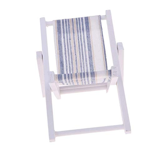 BXU-BG Mini Plegable de Madera casa de muñecas Tumbona Salón Playa Silla Escala 1: 6 (Irregular Stripe)