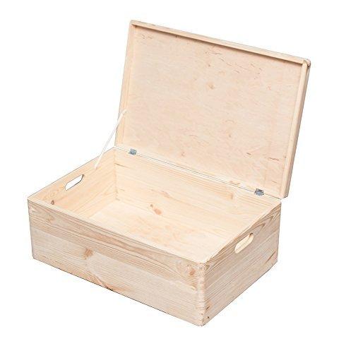 HRB Aufbewahrungsbox 57,6 L, Holzkiste mit Deckel nutzbar als Aufbewahrungsbox Kinder, unlackierter Kasten, stapelbare Weinkisten mit dem Außenmaß 60x40x24 cm