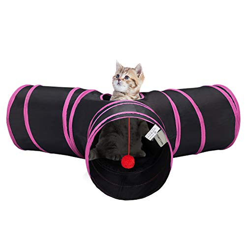 Tempcore Pet Cat Tunnel Tube Cat Toys 3 Way Collapsible, Cat Tunnels for Indoor Cats,Kitty Tunnel Bored Cat Pet Toys Peek Hole Toy Ball Cat, Puppy, Kitty, Kitten, Rabbit,Red