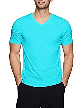 Mens Basic V Neck Tee Solid Fit T Shirts  X-Large,1hc04_ Turquoise