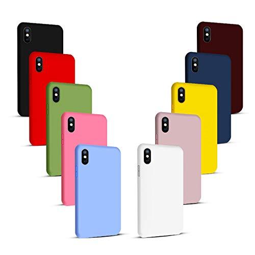 NUDGE 10X Fundas para iPhone X/XS,Carcasa Silicona de Color Sólido Anticaída,Cubierta Flexible Ultrafina a Prueba de Arañazos y Golpes