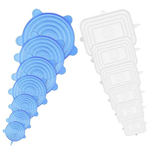 Tonsooze Tapas de Silicona Elásticas, Silicona para Alimentos Tapas Ajustables Extensibles Adecuadas, Tazones de Silicona cuadradas y redondas para varios contenedores, Latas, Vasos, etc.sin BPA
