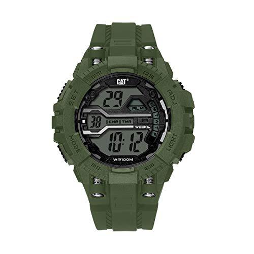 CAT Bolt デジタルミリタリーグリーンメンズ腕時計、47mmケース、ABSケース、ミリタリーグリーンPUストラップ、ブラックダイヤル(OA.137.23.343)