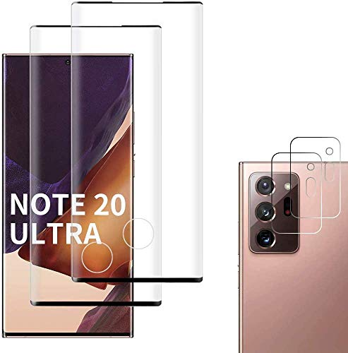[4 Pack] Galaxy Note 20 Ultra Screen Protector Include 2 Pack Tempered Glass Screen Protector + 2 Pack Tempered Glass Camera Lens Protector[9H Hardness][Easy Install] for Galaxy Note 20 Ultra