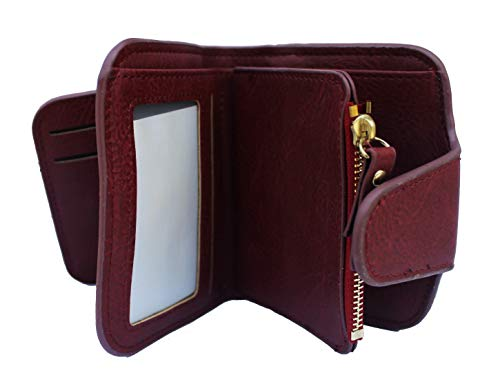 AlexVyan Women's Small Purse Wallet Female Hand Clutch Women/ Ladies/ Girls Wallets Card Holder 3 Pocket (Red))