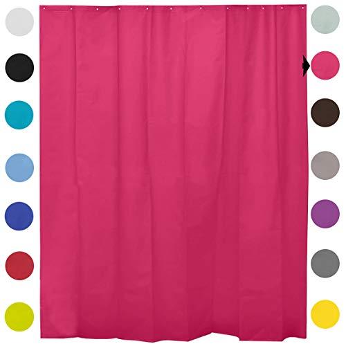 cortinas baño fucsia