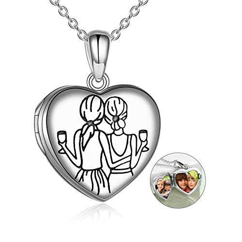 YFN Sister Gifts from Sister, Sterling Silver Always My Sister Forever My Friend Sister Locket Necklace That Hold Pictures, Birthday Jewelry Gift Necklaces for Sisters Friends