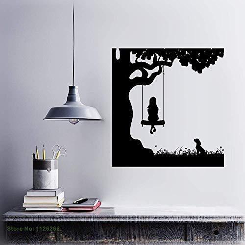 Vivityobert muurschildering zeggen muur sticker kunst muurschildering huisdecoratie citaat meisje op schommels kind hond vriend huisdier swing natuur