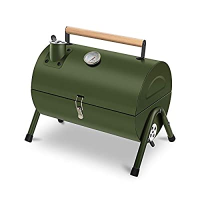 ACWARM HOME Portable Charcoal Grill, Small BBQ Charcoal Grill with Smoker, Tabletop Barbecue Camping Grill Charcoal for Outdoor Garden Cooking Traveling (Green)