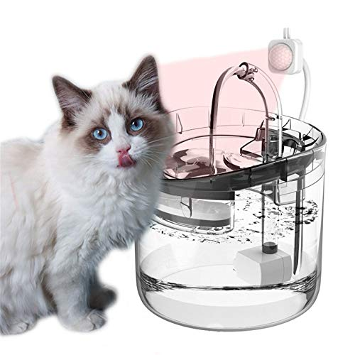 HWZZ Cat Water Fountain Ultra-Quiet, 1.8L Large Capacity, Automatic Circulation Fully Transparent Pet Drinking for Cats Dogs Indoor Outdoor Use,Clear