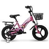 Kids Bikes Chunlan Portable Niños Bicicleta Chico Chica Bicicleta Plegable Neumáticos Antideslizantes Amortiguación Asiento Regulable 14/16/18 Pulgadas(Color:Rosado,Size:18 Inches)