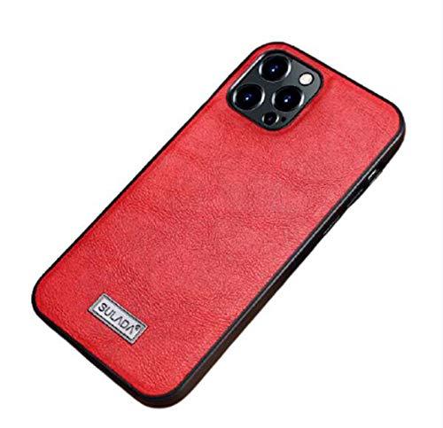 WODETIAN Funda Carcasa de Piel para Compatible con Funda para iPhone 12 / 12pro / 12pro MAX Ultrafina con Forro de Microfibra diseño Vintage,Rojo,12pro
