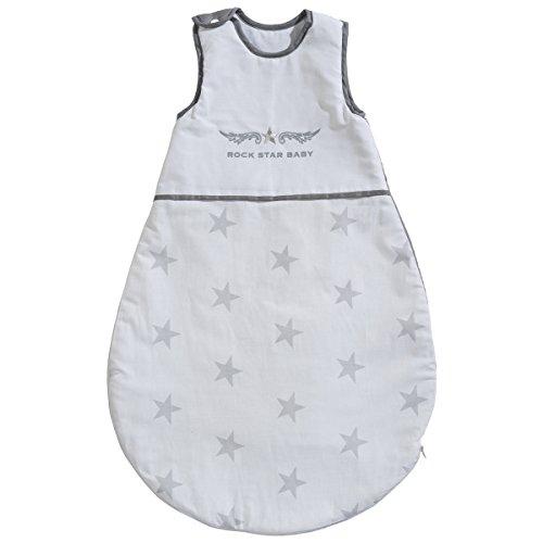 Baumwolle Schlafsack Rock Star Baby 2, 90 cm, rockiges Design in weiß grau • Kinder Kleinkind Winter