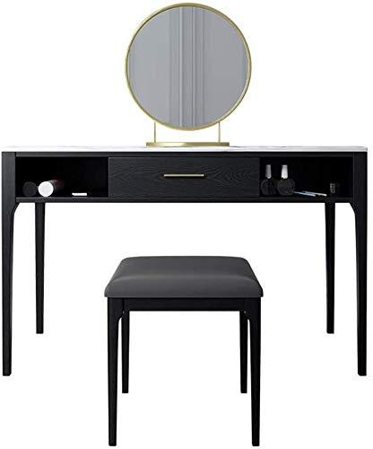 HLZY Escritorio de tocador para dormitorio decoración del hogar 2 en 1 maquillaje tocador tocador tocador mesa con taburete madera mesa de maquillaje con espejo niñas mujeres familia