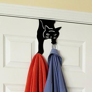 Over The Door Cat Double Hook Hanger For Home, Office & Closet Storage, Black