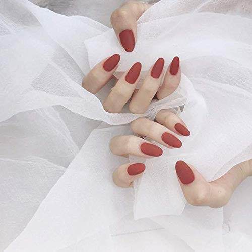 Gangel Matte New Shipping Free Pure Full Cover Fake Nails Oval False Red Lon At the price
