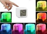 Despertador para Niñas, Reloj de Cabecera, Reloj Despertador Digital con 7 Colores Luz de Noche para Infantil, Hora Alarma Temperatura Fecha de Visualización para niños Mujeres Dormitorio