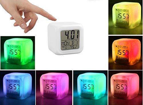 ROYEO Cyfrowy budzik świetlny LED, zegar sześcianowy, 7 kolorów budzik LED, cyfrowy budzik z funkcją drzemki, ekran LCD pokazuje czas, datę, temperaturę, budzik przy łóżku