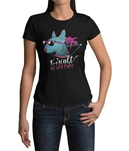 Hundefans Frauen T-Shirt Miniatur Bullterrier Ladyfit Tshirt Kurzarm Oberteil für Damen Vintage Top aus Baumwolle Regular Fit Schwarz Grün Gelb Rosa XS-XXXL (Schwarz, XXXL)