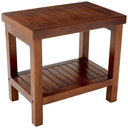 ALATEAK Classic 24 Teak Wood Shower Bath Spa Waterproof Stool Bench with Shelf Brown